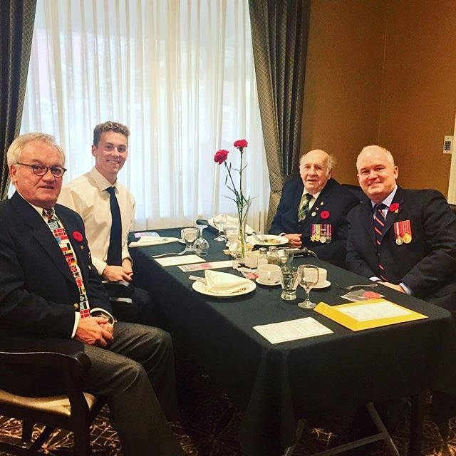 My Dad and I joined veterans at the Seasons Retirement home Annual Veterans Lunch. I brought Nick, a high school student applying to the RMC to meet the Vets including 48th Highlanders Veteran Bill Colville who shared his story of being seriously wounded at the Lamone River in Italy in 1944. He was told at the time that he would not survive, but at 94 he continues to inspire us all.