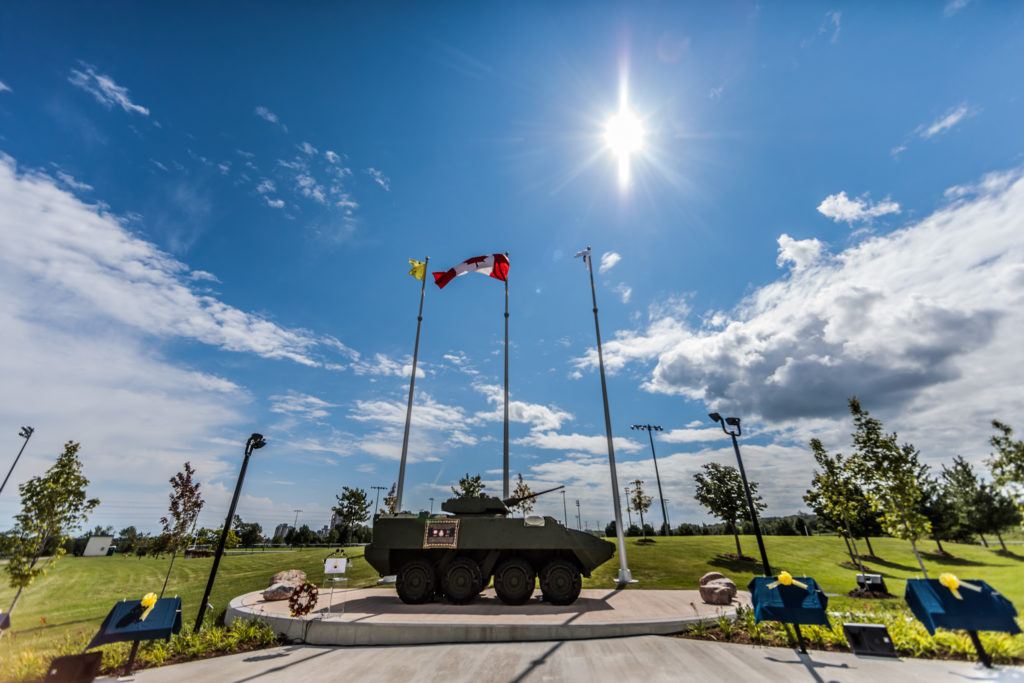 The Highway of Heroes Durham LAV Monument on August 19th, 2017.